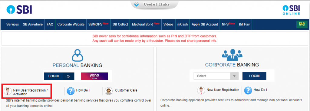 sbi online netbanking activation page